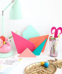 Desk Organizer Diy by Diy Colorful Geometric Desk Organizer Lovely Indeed