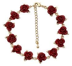 gold red rose necklace images Jodie rose gold plated dozen red roses bracelet of length 20 25cm jpg