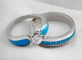 Turquoise Wedding Rings by Moonlit Lake Radiance