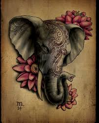 3d indian elephant head with flowers tattoo design by margo