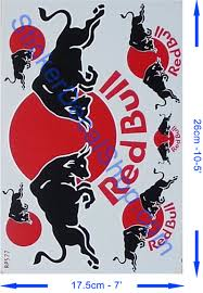halloween bat no background red bull sticker with black bull and red sun printed on