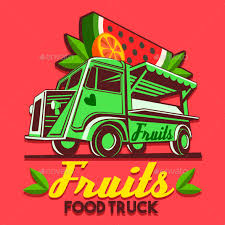 delivery fruit food truck fruit stand fast delivery service vector logo by aurielaki