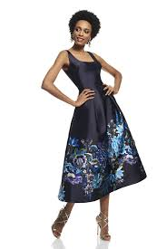 tea length dress floral printed tea length dress theia
