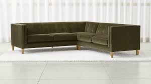 Left Sectional Sofa Aidan Velvet 2 Piece Left Arm Corner Sectional Sofa Crate And Barrel