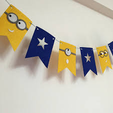 minions baby shower party garland yellow minions flags bunting banner baby shower