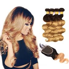 honey weave ombre hair 1b 27 honey 4 bundles with closure wave weave