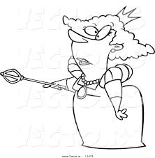 vector of a cartoon queen pointing her staff coloring page