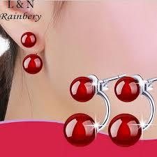s hypoallergenic earrings rainbery 925 silver stud earrings models black retro