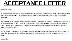 employment acceptance letter employment offer letter acceptance