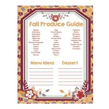 thanksgiving menu planner template fall produce guide for menu planning