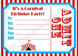 free carnival birthday invitations template google search