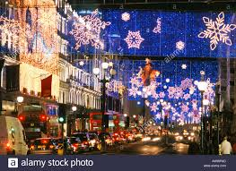 christmas lights and decorations in regent street london stock