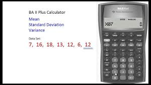 baii plus calculator finding mean u0026 standard deviation youtube