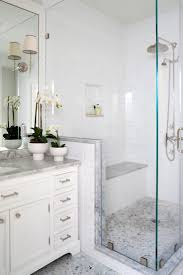 best ideas about shower seat pinterest stalls glass enclosed shower fitted with bench this traditional master bathroom space