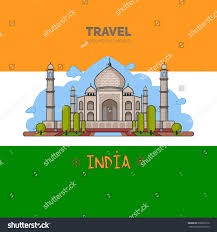 The Flag Of India Indian Palace Background Flagindia Famous Monuments Stock Vector