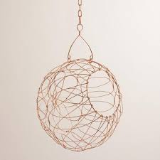 copper woven iron orb hanging basket world market