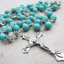 rosaries for sale blue turquoise rosary with and silver