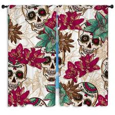 Teal And Red Curtains Skull Custom Size Window Curtains