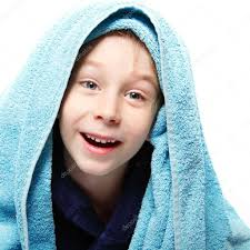 little boy after shower with bath towel u2014 stock photo