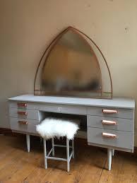 rose gold vanity table grey retro dressing table rose gold handles repurposed furniture