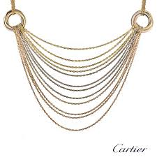 colour gold necklace images Cartier 18k three colour gold multi strand trinity necklace rich jpg