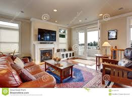 luxury living room with red and blue rug stock photo image