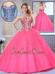 fifteen dresses beading sweetheart sweet fifteen dresses in hot pink