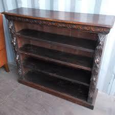 victorian oak carved open bookshelf bookshelves antique
