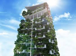 great world structures with green facades and vertical gardens as