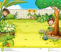 a boy and a hiding in the garden stock vector image 33072694