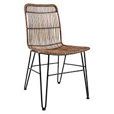 urban dweller hairpin rattan dining chair set of 2 brown