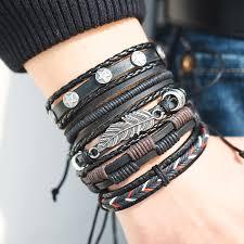 leather star bracelet images Vintage leaf feather multilayer leather bracelet men fashion jpg