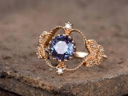 vintage sterling rings images Alexandrite ring art deco engagement ring 7mm round cut blue gems jpg