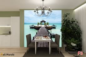 Dining Room Wall Murals Mural Sea Romance Palms With A Bridge