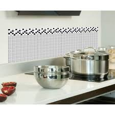 backsplash for black and white kitchen using peel stick backsplash tiles in your kitchen poptalk