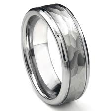 mens hammered wedding bands tungsten carbide hammer finish wedding band ring w grooves