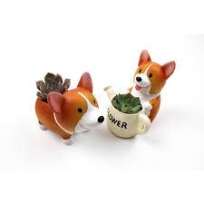 Animal Pots Creative Kawaii Handmade Resin Corgi Garden Pots Planters