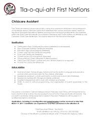 Sending A Resume With No Job Posting Childcare Assistant Job Posting U2014 Tla O Qui Aht First Nation