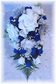 wedding flowers royal blue royal blue and black and white wedding 21pc wedding bouquet