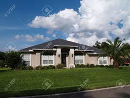 Stucco Homes Pictures One Story Florida Home With A Stucco Facade Stock Photo Picture