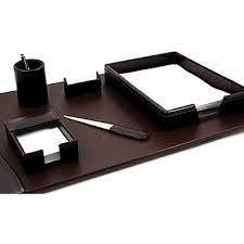 bey berk 6 piece leather desk set with gold plated accent brown