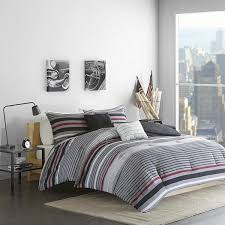 Striped Comforter Black Red Grey Rugby Stripes Comforter Full Queen Cool Gray Tones