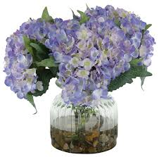 silk hydrangea silk blue hydrangeas in ribbed glass vase traditional