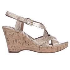 söfft vivien cork wedge strappy sandals in metallic lyst