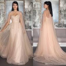 elegant tulle blush wedding dresses with capes appliques cheap