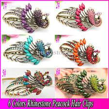 barrettes for hair 2017 fashion jewelry hair clip bohemian rhinestone peacock duck