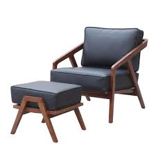 jens risom style grey lounge chair and ottoman emfurn