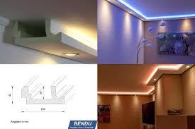 Indirekte Beleuchtung Wohnzimmer Wand Bendu U2013 Moderne Stuckleisten Bzw Lichtprofile Für Indirekte