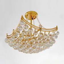 Semi Flush Mount Ceiling Light Golden Finish And Stunning Crystal Globes Hang Together Semi Flush