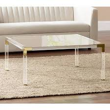 clear acrylic coffee table hanna square clear acrylic coffee table with gold corners 1g405